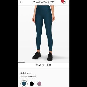 """Lululemon Zoned in Tight 27"""""""